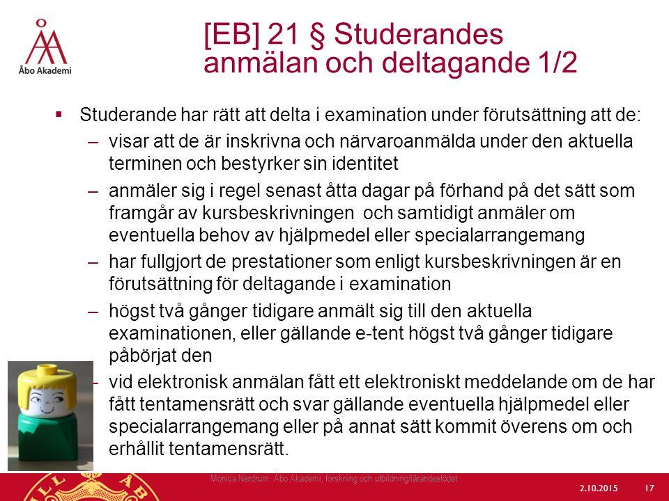 [EB] 21 § Studerandes anmälan och deltagande 1/2